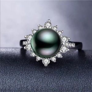 Tahitian Pearl White Sapphire Ring 925 Sterling